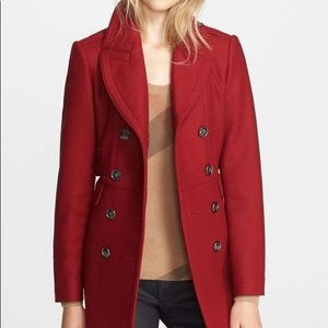 Burberry Brit Newmont Double Breasted Wool Peacoat in Damson Red Size US10